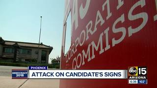 Candidate's sign vandalized in juvenile manner