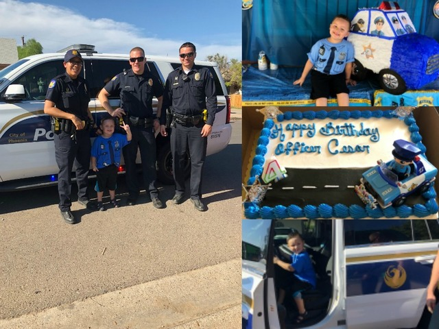 Phoenix Police Officers Surprise 4 Year Old Boy At His