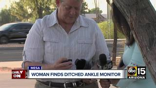 Woman finds ditched ankle monitor at gas station