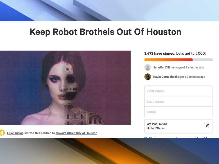 Sex robot brothel wants to open in Texas, sex-trafficking group looking to stop it