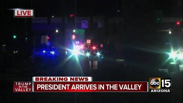 President Trump arrives in Phoenix ahead of rally in Mesa