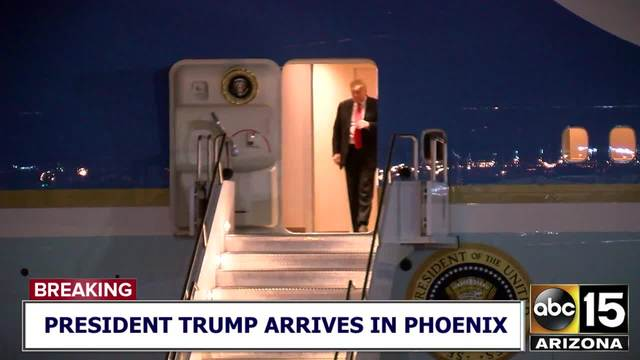President Trump exits Air Force One- departs for Scottsdale hotel