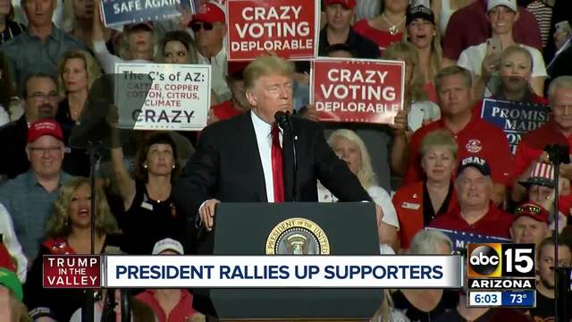 President Trump speaks to supporters during Mesa MAGA rally