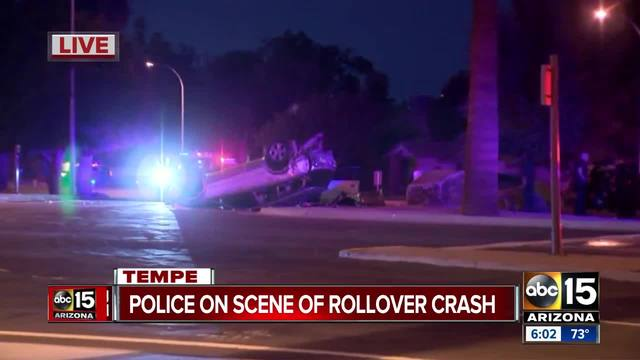 Police investigating rollover crash near Mill and Apache in Tempe
