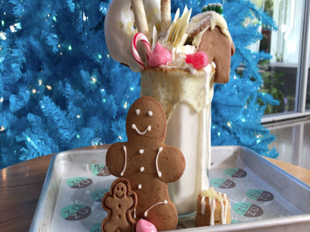 GINGERBREAD HOUSE ON TOP OF A SHAKE- New Show Stopper Shake at ZuZu -…